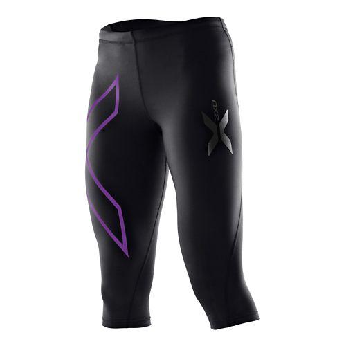 Womens 2XU Compression 3/4 Capri Tights - Black/Purple Lacquer XL