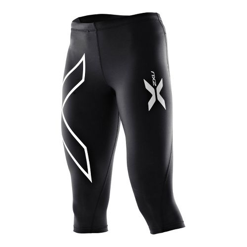 Womens 2XU Compression 3/4 Tights Capri - Black/Black XL