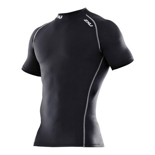 Mens 2XU Compression Short Sleeve Top Technical Tops - Black/Black XL