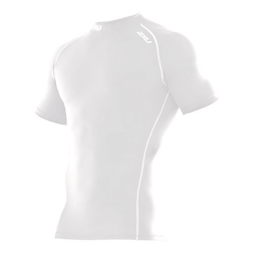 Mens 2XU Compression Short Sleeve Top Technical Tops - White/White S