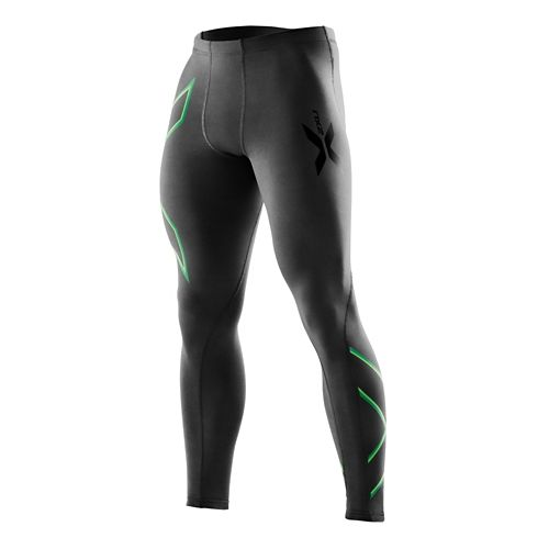 Mens 2XU Compression Fitted Tights - Black/Fairway Green S-R