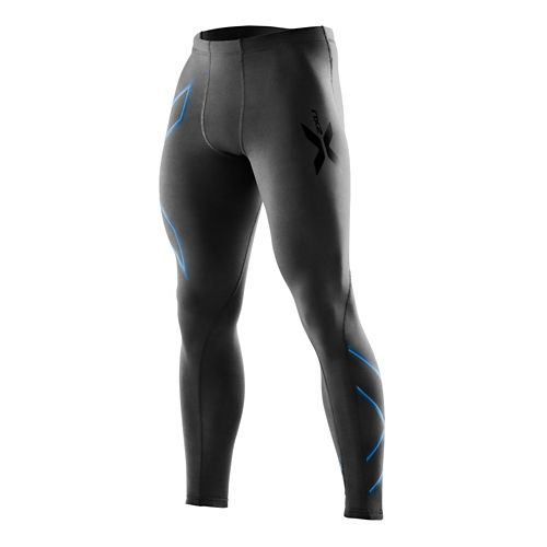 Mens 2XU Compression Fitted Tights - Black/Pacific Blue L-R
