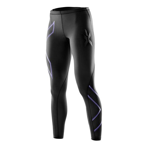 Womens 2XU Compression Fitted Tights - Black/Amethyst S-T