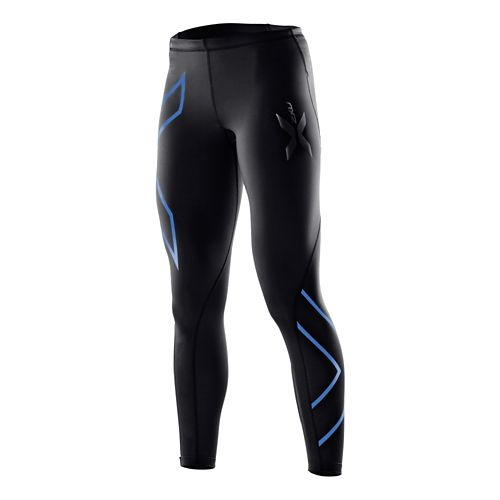 Womens 2XU Compression Fitted Tights - Black/Blue XS-R