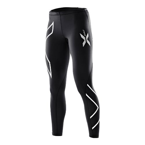 Womens 2XU Compression Fitted Tights - Black/Blue L-R