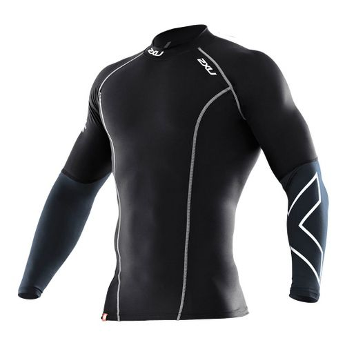 Mens 2XU Elite Compression Long Sleeve Top No Zip Technical Tops - Black/Steel XL