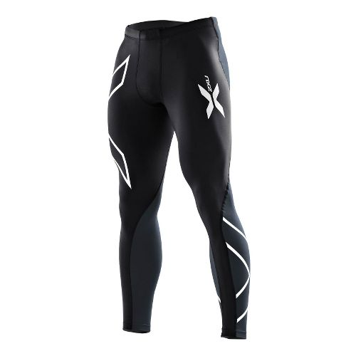 Mens 2XU Elite Compression Tights Fitted - Black/Steel MT