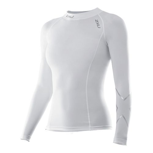 Womens 2XU Long Sleeve Compression Top No Zip Technical Tops - White/White M