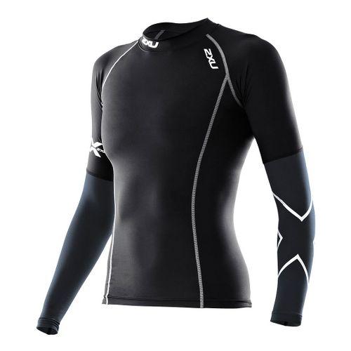Womens 2XU Elite Long Sleeve Compression Top No Zip Technical Tops - Black/Steel XS