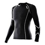 Womens 2XU Long Sleeve Thermal Compression Top Long Sleeve No Zip Technical Tops - Black/Black L