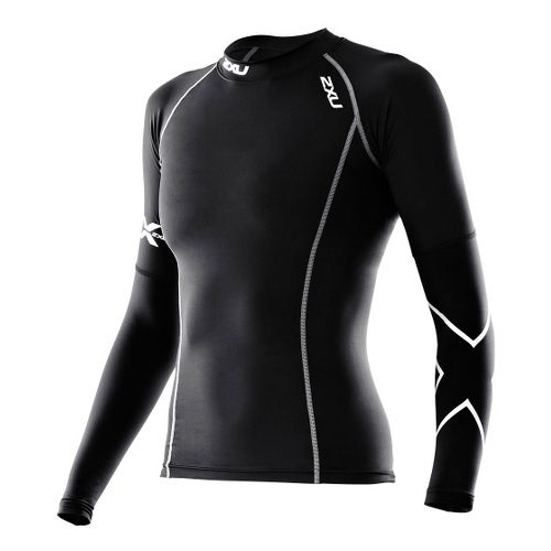 Womens 2XU Long Sleeve Thermal Compression Top Long Sleeve No Zip Technical Tops - Black/Black ...