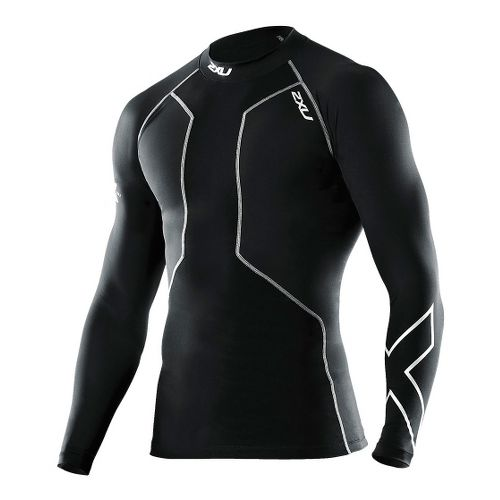 Mens 2XU Recovery Compression Long Sleeve Top No Zip Technical Tops - Black/Black XL