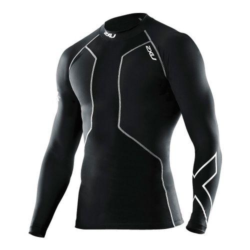 Mens 2XU Recovery Compression Long Sleeve Top No Zip Technical Tops - Black/Black XL