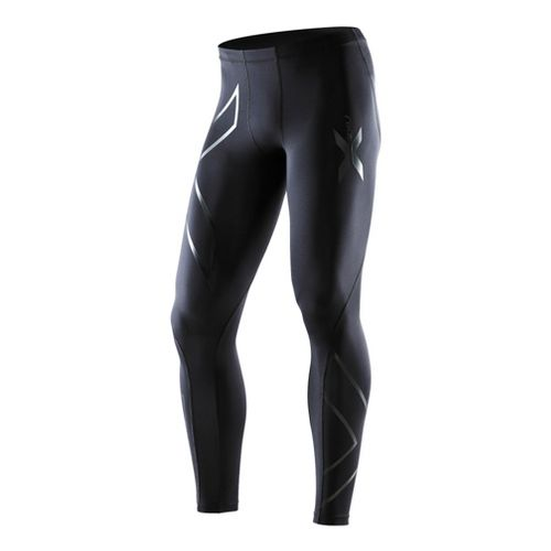 Mens 2XU Recovery Compression Tights Fitted - Black/Black 2XL