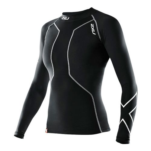 Womens 2XU Recovery Long Sleeve Compression Top No Zip Technical Tops - Black/Black S
