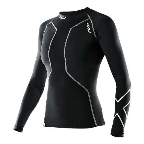 Womens 2XU Recovery Long Sleeve Compression Top No Zip Technical Tops - Black/Black XS