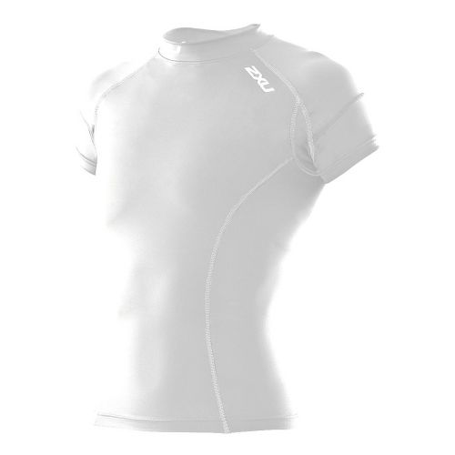 Womens 2XU Short Sleeve Compression Top Technical Tops - White/White M