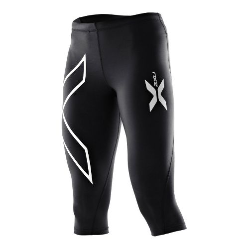 Womens 2XU Thermal 3/4 Compression Tights Capri - Black/Black L