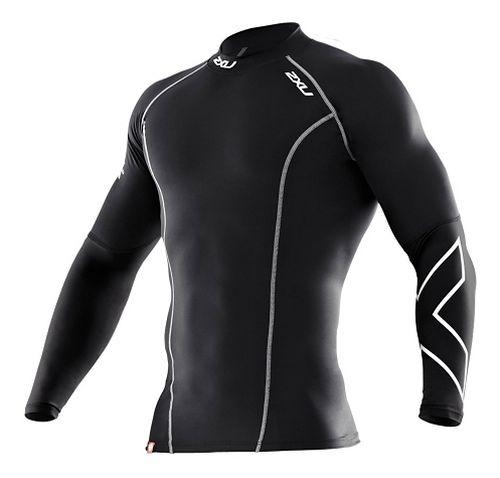 Mens 2XU Thermal Compression Long Sleeve Top No Zip Technical Tops - Black/Black L