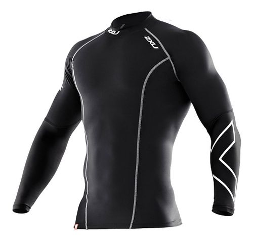 Mens 2XU Thermal Compression Long Sleeve Top No Zip Technical Tops - Black/Black XL
