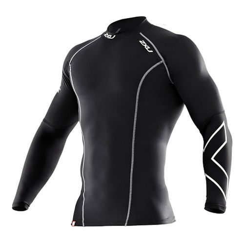 Mens 2XU Thermal Compression Long Sleeve Top No Zip Technical Tops - Black/Black L