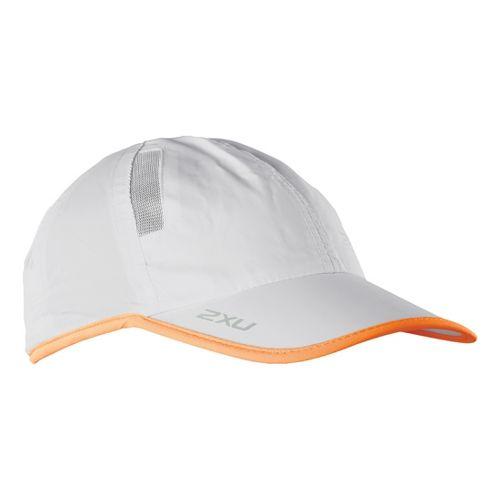 2XU Run Cap Headwear - Concrete Grey/Neon Orange