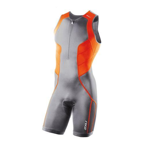 Mens 2XU Comp Trisuit Triathlon UniSuits - Charcoal/Bright Orange L