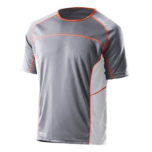 Mens 2XU Tech Speed X Run Short Sleeve Technical Tops - Charcoal/Bright Orange XL