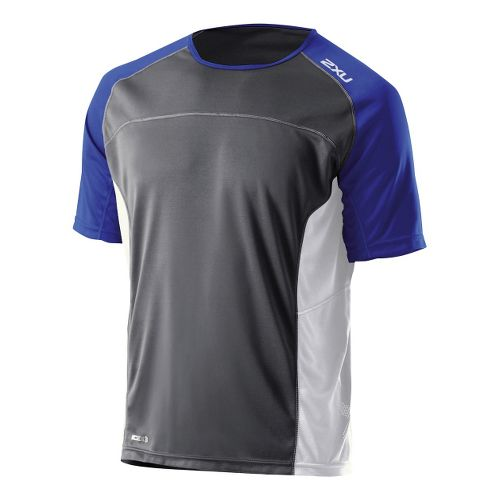 Mens 2XU Tech Speed X Run Short Sleeve Technical Tops - Charcoal/Nautic Blue XXL