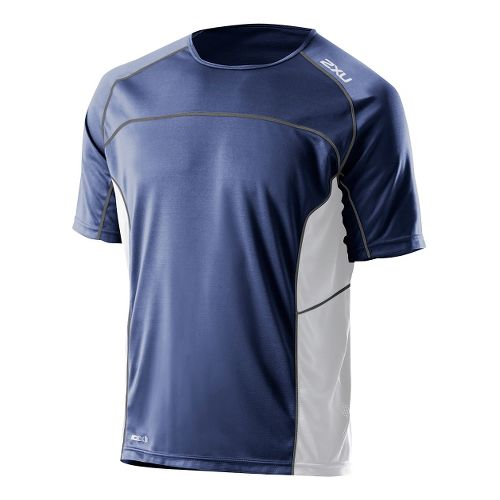 Mens 2XU Tech Speed X Run Short Sleeve Technical Tops - Indigo/White XXL