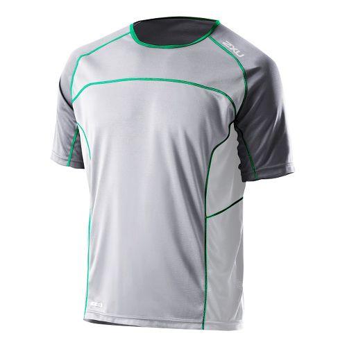 Mens 2XU Tech Speed X Run Short Sleeve Technical Tops - Light Grey/Forest Green L ...