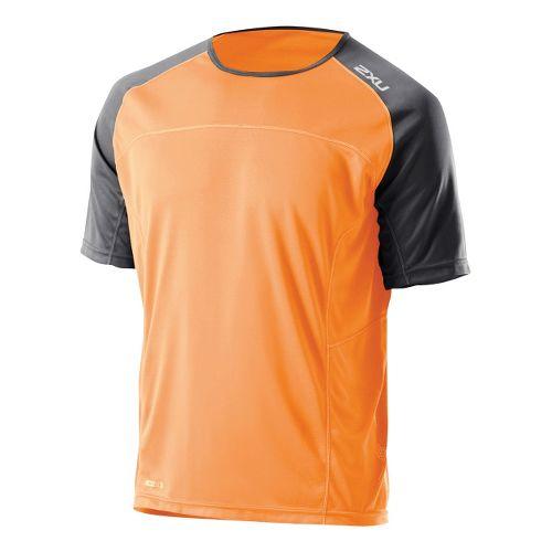 Mens 2XU Tech Speed X Run Short Sleeve Technical Tops - Neon Orange/Charcoal L