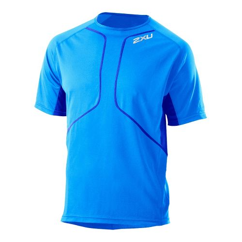 Mens 2XU Comp Run Short Sleeve Top Short Sleeve Technical Tops - Bright Blue/Electric Blue ...