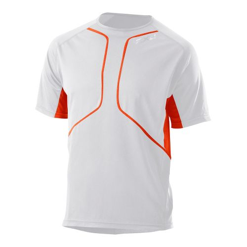 Mens 2XU Comp Run Short Sleeve Top Short Sleeve Technical Tops - White/Bright Orange S ...