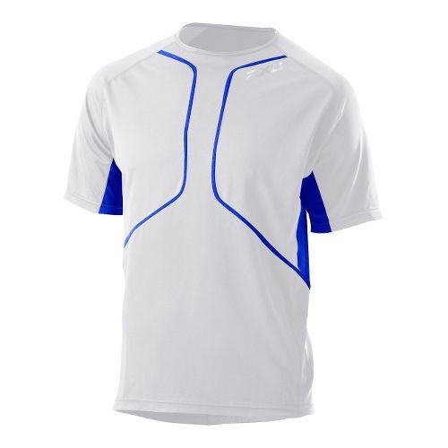 Mens 2XU Comp Run Short Sleeve Top Short Sleeve Technical Tops - White/Electric Blue S ...