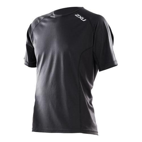 Mens 2XU Active Run Short Sleeve Technical Tops - Black/Black XXL