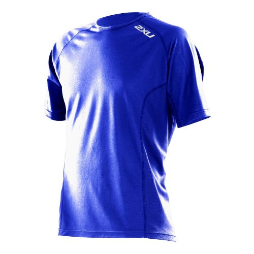 Mens 2XU Active Run Short Sleeve Technical Tops - Blue Scurro/Blue Scurro XXL