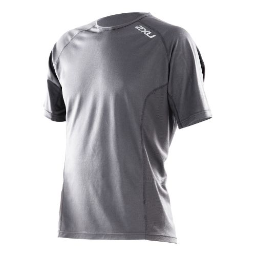 Mens 2XU Active Run Short Sleeve Technical Tops - Charcoal/Charcoal M