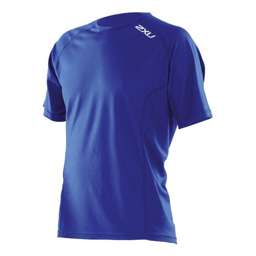 Mens 2XU Active Run Short Sleeve Technical Tops - Nautic Blue/Nautic Blue XL