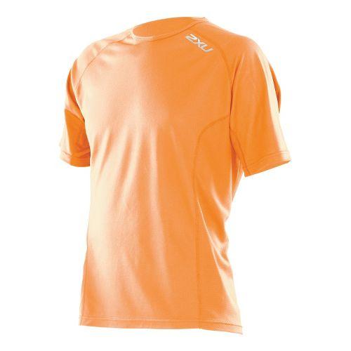 Mens 2XU Active Run Short Sleeve Technical Tops - Neon Orange/Neon Orange L