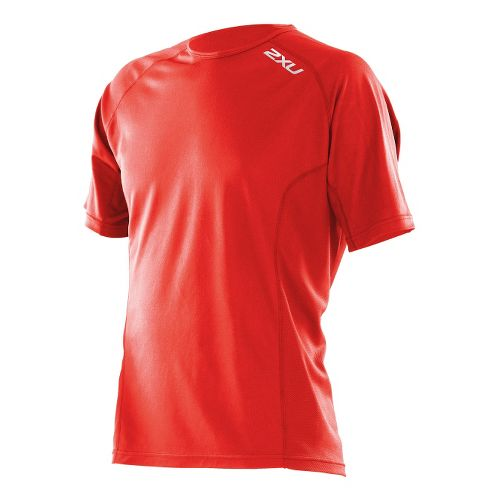 Mens 2XU Active Run Short Sleeve Technical Tops - Neon Red/Neon Red L