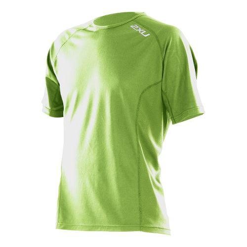 Mens 2XU Active Run Short Sleeve Technical Tops - Vibrant Green/Vibrant Green L