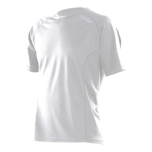 Mens 2XU Active Run Short Sleeve Technical Tops - White/White M