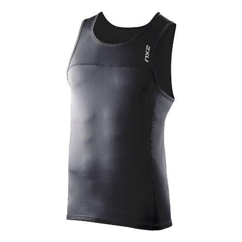 Mens 2XU Tech Speed X Run Singlets Technical Tops - Black/Black L