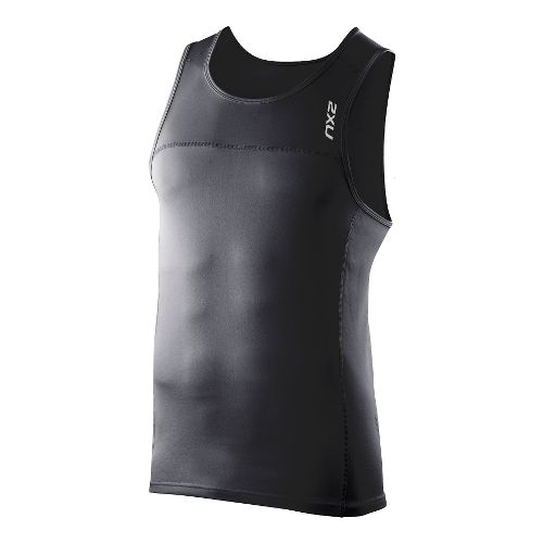 Mens 2XU Tech Speed X Run Singlets Technical Tops - Black/Black S