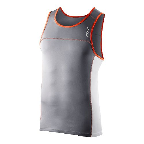 Mens 2XU Tech Speed X Run Singlets Technical Tops - Charcoal/Bright Orange L
