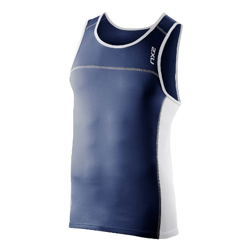 Mens 2XU Tech Speed X Run Singlets Technical Tops - Indigo/White XL