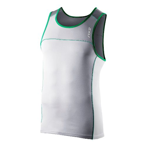Mens 2XU Tech Speed X Run Singlets Technical Tops - Light Grey/Fir Green XL
