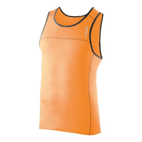 Mens 2XU Tech Speed X Run Singlets Technical Tops - Neon Orange/Charcoal M