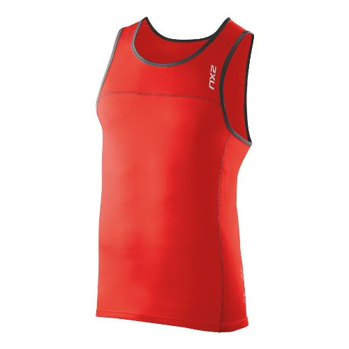 Mens 2XU Tech Speed X Run Singlets Technical Tops - Neon Red/Charcoal S